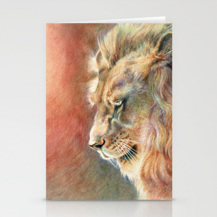 Interesting Lion Colored Pencil Drawing Free African Lion Colored Pencil Drawing Stationery Cards By Sonjafunnell Picture