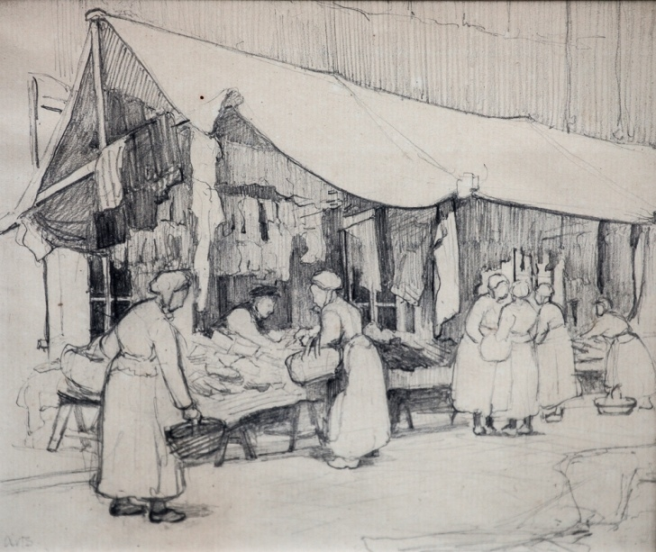 Interesting Market Pencil Drawing Techniques French School (Circa 1900) Women In A Breton Market Pencil Drawing Photos