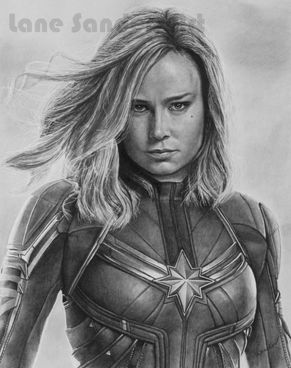 Interesting Marvel Pencil Drawings Simple Pencil Portrait Drawing Of Captain Marvel (Brie Larson). | Portrait Pic