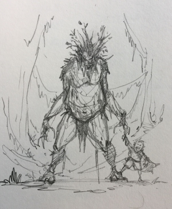 Interesting Monster Pencil Drawing Techniques Fantasy Rough Pencil Sketch And / #giant #monster #pet #kid #fantasy Pic