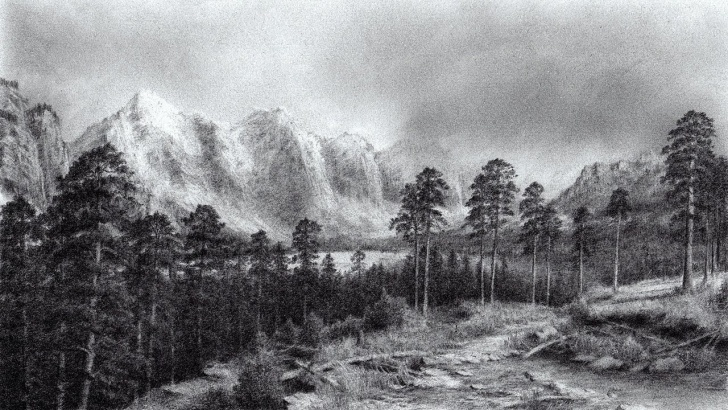 Interesting Mountain Pencil Drawing Techniques Scenery Of Mountains & Trees | Time Lapse Pencil Drawing - Paintingtube Photo