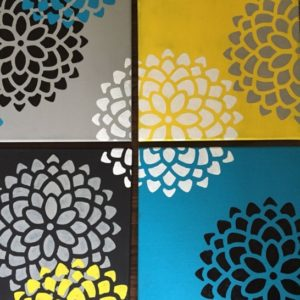 Interesting Painting On Canvas With Stencils Easy Easy Canvas Paintings. Stencil From Michaels And Hand Painted Petals Pic