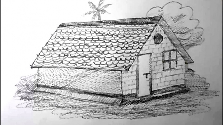 Interesting Pencil Drawing Of Hut Easy How To Draw A House For Kids Pencil Drawing | Yzarts Photo