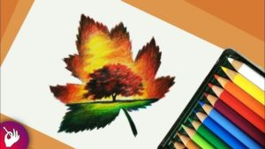 Interesting Pencil Drawing With Colour Courses Scenery Drawing With Pencil Colour - Landscape Scenery Picture