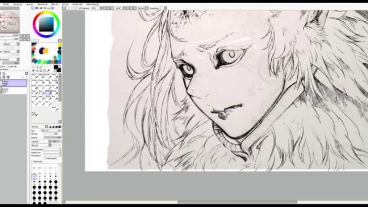 Interesting Pencil Paint Tool Sai Lessons One From Wolf Tribe - Line [Paint Tool Sai] Pictures
