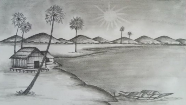 Interesting Pencil Painting Of Nature Free How To Draw Nature Scenery With Pencil Step By Step Images
