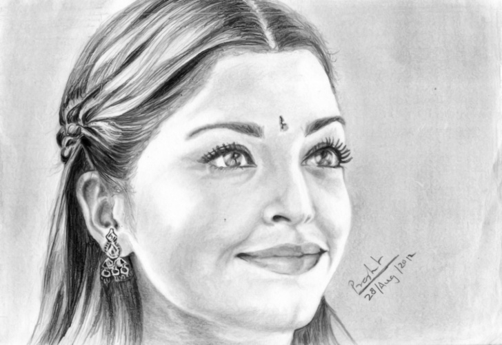 Interesting Pencil Sketch Of Aishwarya Rai Ideas Portrait Of Actress Aishwarya Rai-Www.desipainters | Pencil Image