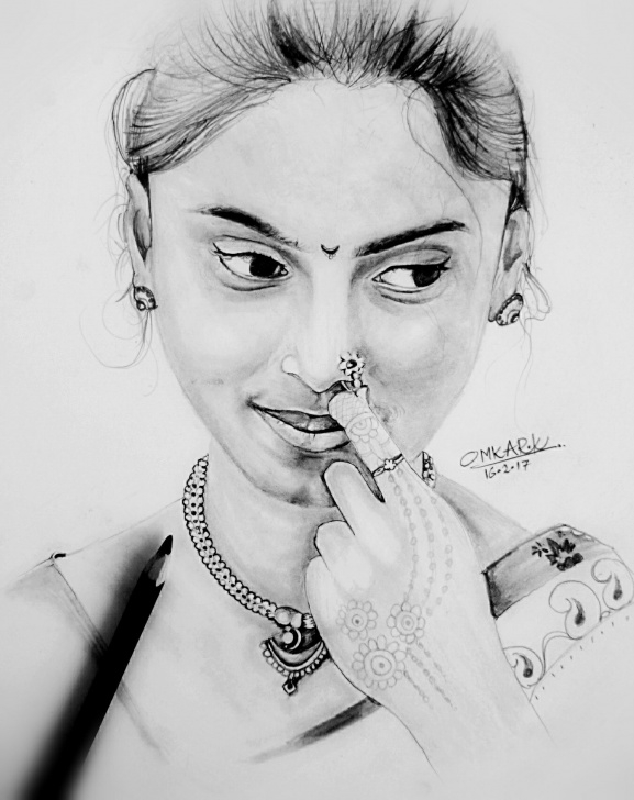 Interesting Pencil Sketch Of Woman Face Step by Step Pencil Sketch | Omkar Khochare | Paintings And Sketches By Omkar Pictures