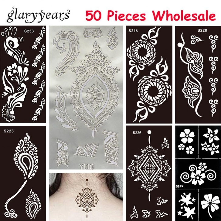 Interesting Rangoli Design Stencils Online Ideas Wholesale-50 Pieces Wholesale Medium Hollow Henna Tattoo Stencil Paste  Drawing Unisex Arm Waist Body Art Painting Tattoo Stencil Temporary Photo