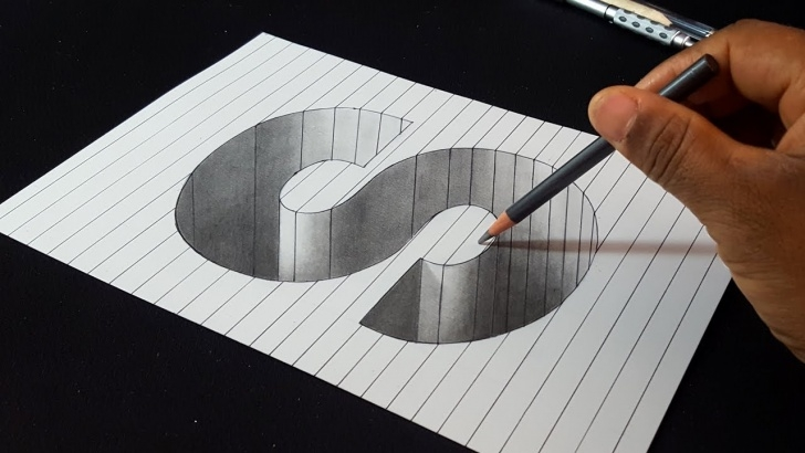Interesting Simple 3D Drawings On Paper With Pencil Techniques for Beginners How To Draw 3D Letter S Hole Shape - Easy 3D Drawings Picture
