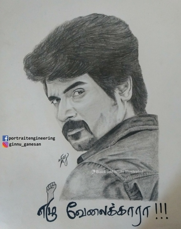 Interesting Sivakarthikeyan Pencil Drawing for Beginners Portrait Of Actor Sivakarthikeyan – Black And White Illustrated Photo