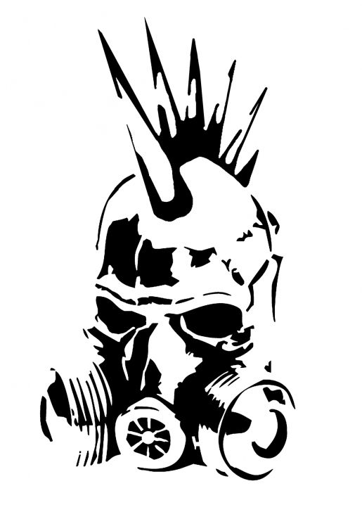 Interesting Skull Graffiti Stencil Simple Punk Gas Mask Stencil By Skayp | Outline Of Everything In 2019 Picture