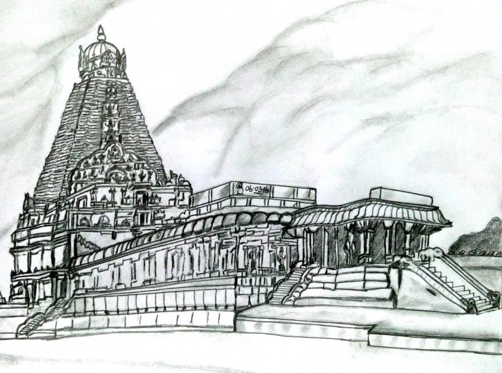 Interesting Temple Pencil Drawing Techniques for Beginners Rakshee Arts ( Only Pencil Drawing ) Rs 500 /- Only : Original Image