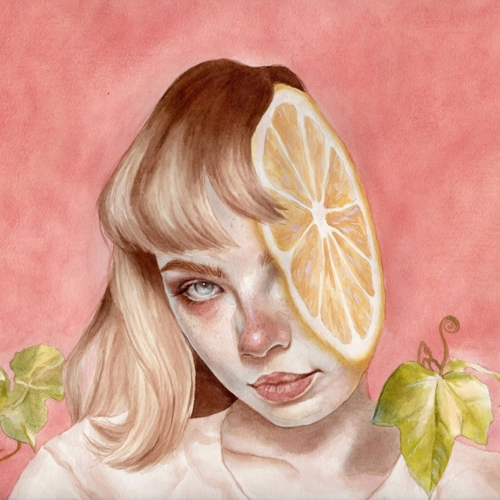 Interesting Watercolour And Pencil Ideas Lemon, Watercolour And Pencil On A4 Paper, Kari Lilt : Art Picture