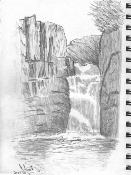 Interesting Waterfall Pencil Sketch Tutorial Waterfall Pencil Drawing At Paintingvalley | Explore Collection Images