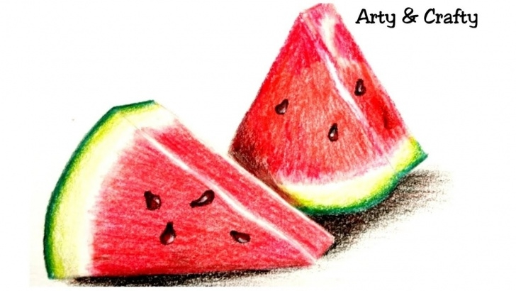 Interesting Watermelon Pencil Drawing Free Realistic Watermelon #how To Draw Watermelon #drawing Water Melon With  Coloured Pencil#fruit Drawing Pictures