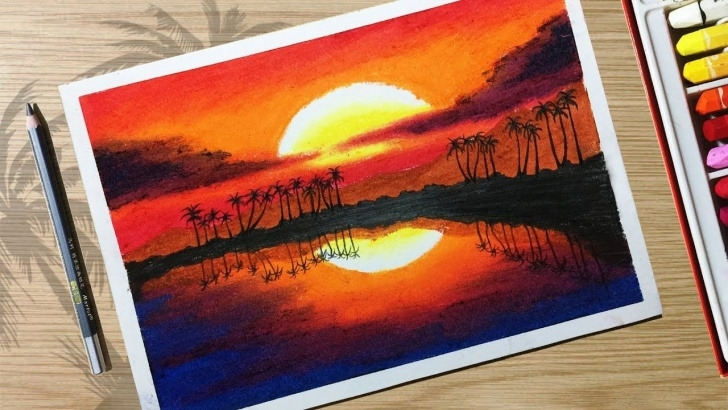 Learn Beautiful Crayon Drawings Free How To Draw Beautiful Sunset Scenery With Oil Pastels For Beginner Images