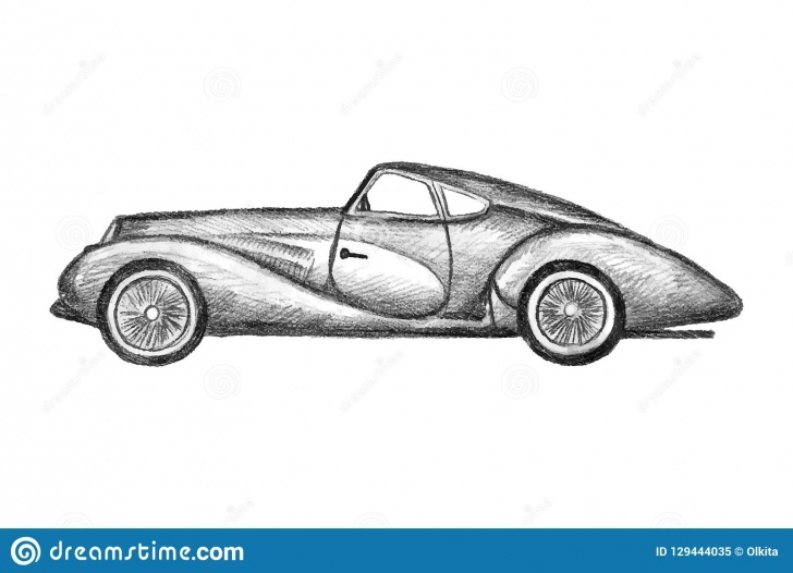 Learn Car Pencil Sketch Courses Hand Drawn Invented Retro Car. Black Pencil Drawing On White Photo