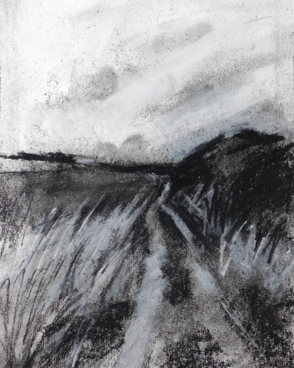 "Learn Charcoal Landscape Sketches Techniques for Beginners Contemporary Landscape Drawing. Charcoal On Paper, 8"" X 10"", 2015 Images"