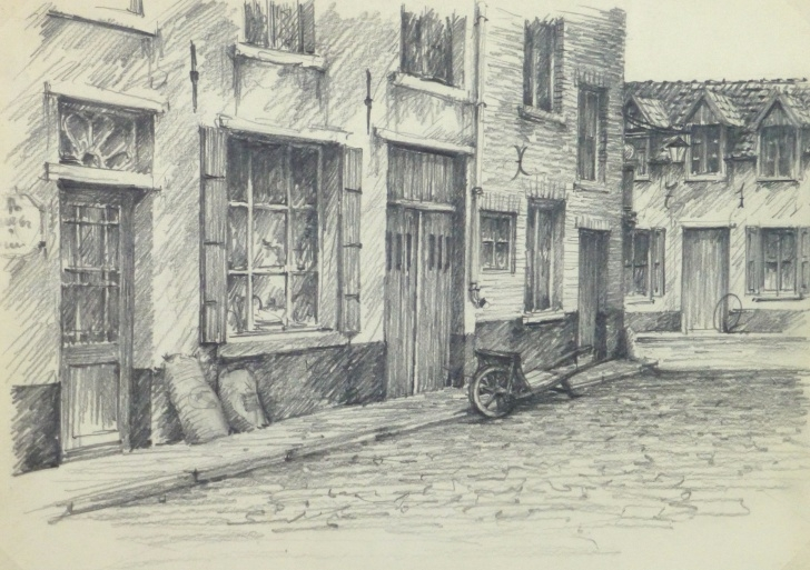 Learn City Pencil Drawing Techniques Pencil Drawing Belgium City Shops, Circa 1950 Photos