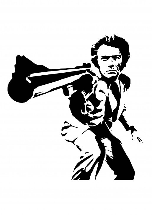 "Learn Clint Eastwood Stencil Art Tutorials Dirty Harry"" [O] - Clint Eastwood : Stenciltemplates Image"