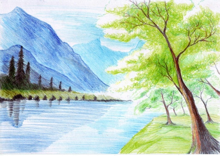 Learn Color Pencil Sketches Of Nature Simple Nature Sketch Pictures At Paintingvalley | Explore Collection Of Pics