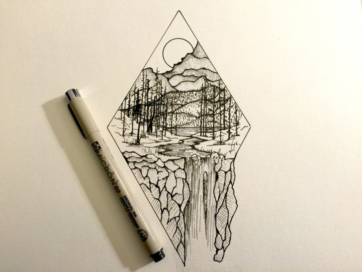 Learn Cool Pen Art Techniques for Beginners Derek Myers Illustration - Maine Shape With Maine Concept Line Image