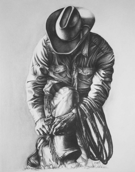 Learn Cowboy Pencil Drawings Tutorial Fine Art | Smalltownnecreations Image