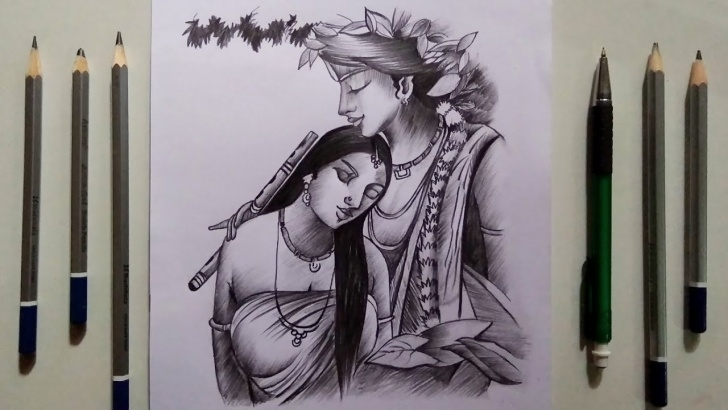 Learn Creative Pencil Drawings Lessons Lord Creative Krishna & Radha Drawing For Beginners || Pencil Sketch Pictures