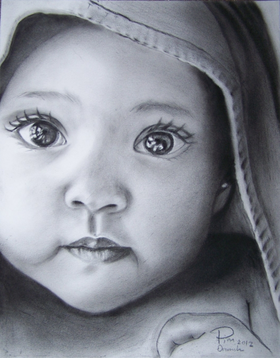 Cute Baby Pencil Sketch