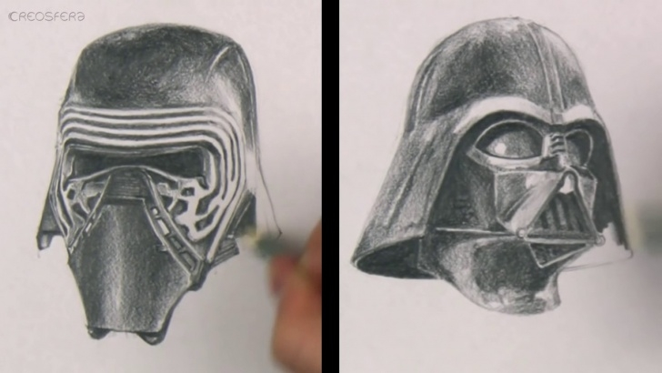 Learn Darth Vader Pencil Drawing Simple Star Wars: Kylo Ren Vs Darth Vader Pencil Drawing Comparison Image