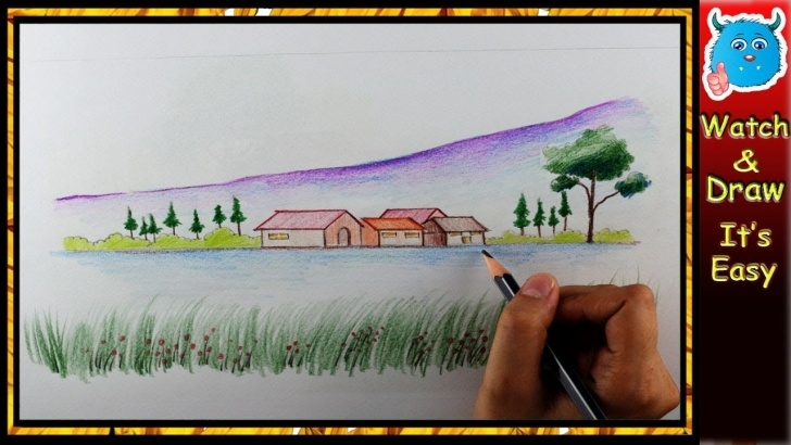 Learn Easy Colored Pencil Drawings For Beginners Easy How To Draw Scenery Of Nature - A Colored Pencil Landscape Drawing Easy For  Beginners Pics
