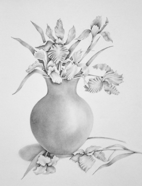 Learn Flower Vase Pencil Shading Lessons Pencil Drawing Of Irises In Vase, Flower Art, Pencil Art, $90 | Art Image