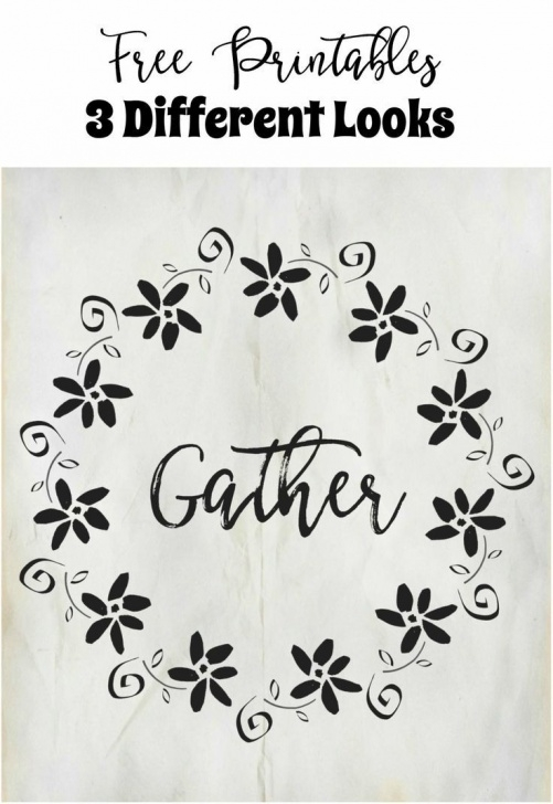 Learn Free Printable Wall Art Stencils Courses Free Gather Wreath Printables 3 Different Looks | ~Best Of Pinterest Photos