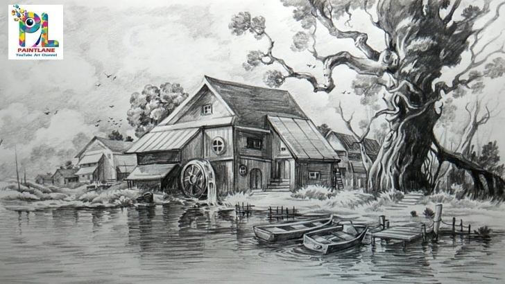 Learn Landscape Drawing Pencil Shading Tutorial How To Draw And Shade A Scenery With Pencil | Easy Pencil Strokes Pics