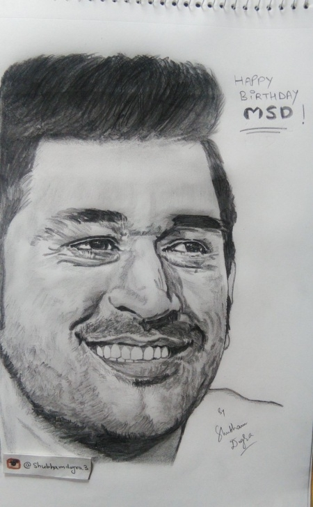 "Learn Ms Dhoni Pencil Sketch Lessons Shubham Dogra On Twitter: ""pencil Sketch Of @msdhoni Pic"