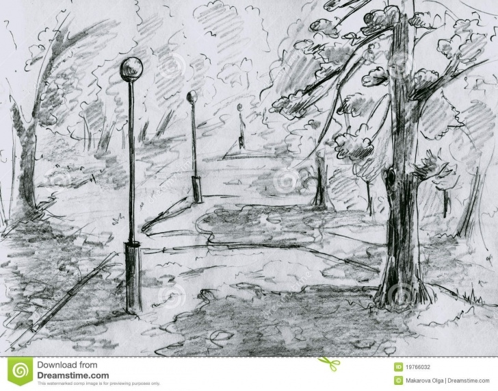 Learn Park Pencil Drawing Courses City Park, Sketch Stock Illustration. Illustration Of Artistic Pic