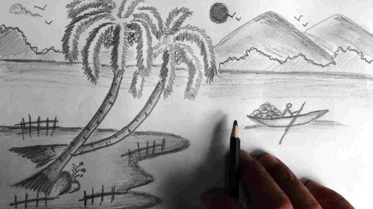 Learn Pencil Drawings Of Nature Scenes for Beginners Nature Scenes In Pencil Sketch Photo