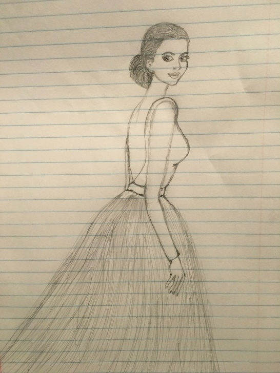 Learn Pencil Sketch Of A Girl Standing Lessons Pencil Drawing. Pencil Sketch Of A Girl With Long Dress. Fashion Image