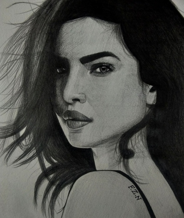 Learn Priyanka Chopra Pencil Sketch Simple Sketches By Faizan Artist: Priyanka Chopra Pencil Sketch Picture