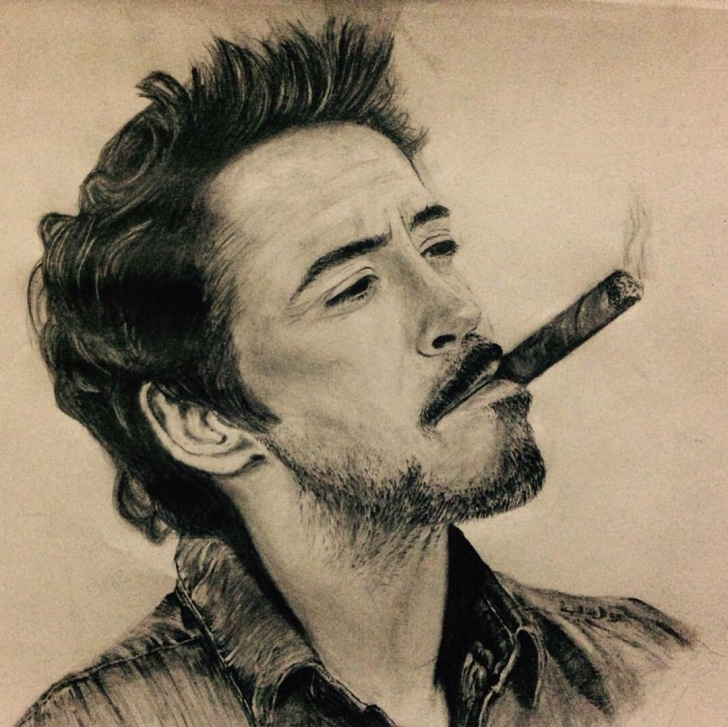 Learn Robert Downey Jr Pencil Sketch Lessons Pencil Portrait Robert Downey Jr : Drawing Pic
