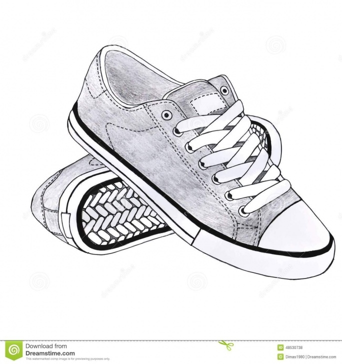 Learn Shoe Pencil Drawing Tutorial Tiptoe Shoe Pencil Sketch And Sports Shoes Stock Illustration Images