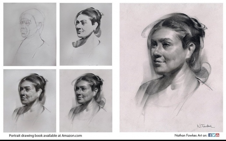 "Learn Step By Step Charcoal Portrait Tutorial Nathan Fowkes Art On Twitter: ""charcoal Portrait Drawing Step By Pictures"