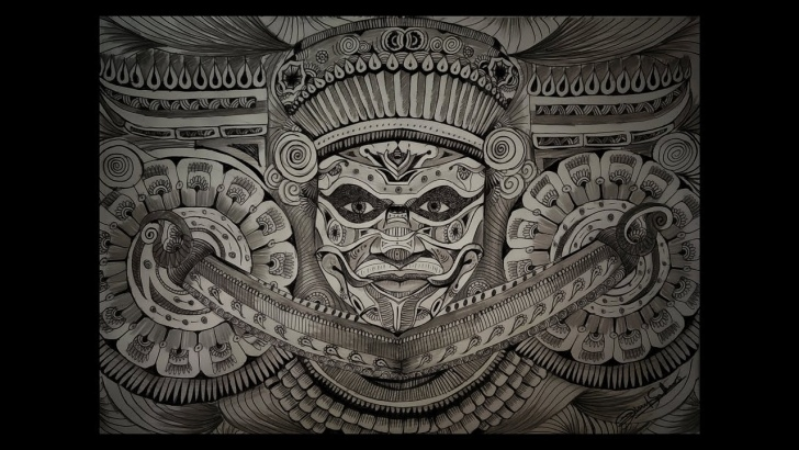 Learn Theyyam Pencil Drawing Courses Theyyam Doodle Pencil Drawing | Art Of Theyyam | Ritual Form Of Worship |  Time Lapse | Rahul Sekhar Photo