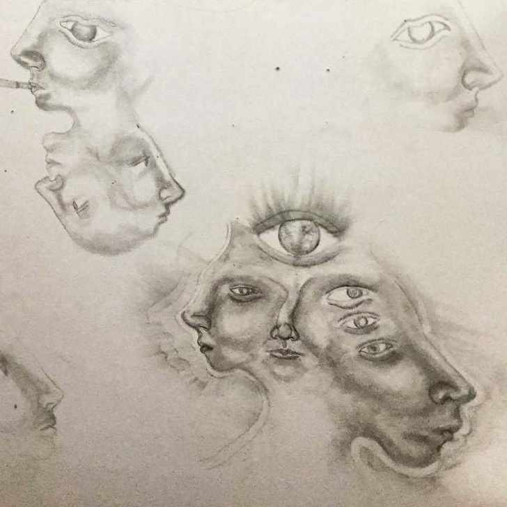 Learn Trippy Pencil Drawings Step by Step Pencil Wall Drawing #art #drawing #face #artwork #artist #sketch Images