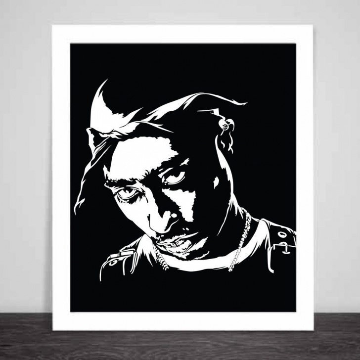 Learn Tupac Stencil Art Courses Tupac Shakur Art Poster (6 Sizes) // Hip Hop Thug Life California Photo