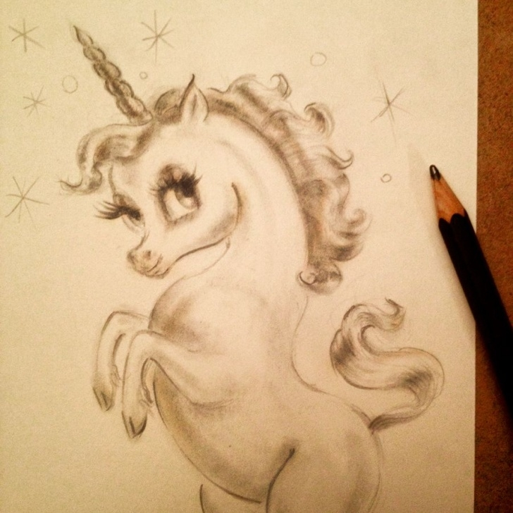 Learn Unicorn Pencil Sketch Courses Baby Unicorn Pencil Drawing In Progress By Artist Miss Fluff Pictures