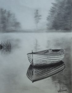 Learn Water Pencil Drawing Techniques for Beginners Misty Row Boat Sketch, Water Reflections. Original Art, Graphite Pics
