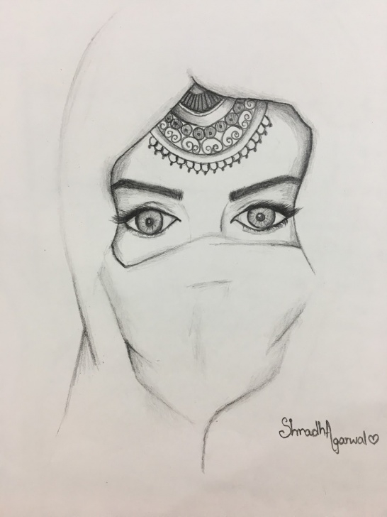 Learn Women Pencil Art for Beginners Woman With 'glittering' Eyes, Wearing 'hijab': Pencil Sketch Images