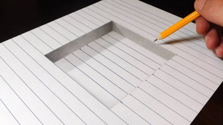 Learning 3D Pencil Drawings Easy Lessons How To Draw A Step In Line Paper - Easy 3D Trick Art Photos